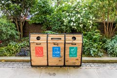 City of London. London. May 2018. A view of 3 recycling bins in the City of london royalty free stock photo