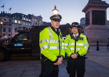 London Metropolitan Police Officers in Trafalgar Square royalty free stock images