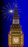 London Mew Years Eve. Big Ben with an exploding new years firework Royalty Free Stock Photos