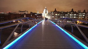 London Millennium Bridge leading to St Pauls Cathedral great night shot stock video footage