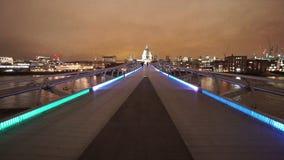 London Millennium Bridge leading to St Pauls Cathedral great night shot. LONDON, ENGLAND stock footage