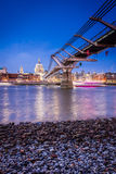 London Millennium Bridge. Night time shot of the Millennium Bridge from the shore looking towards St Paul's Cathedral Stock Photography