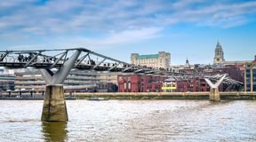 London Millennium Bridge over Thames river. royalty free stock photo