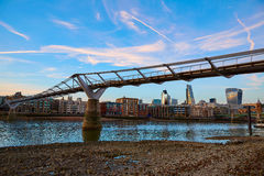 London Millennium bridge skyline UK Royalty Free Stock Images