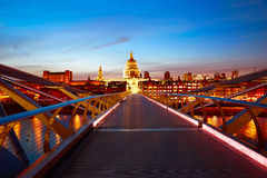 London Millennium bridge skyline UK Royalty Free Stock Photo