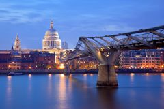 London Millennium bridge and St Paul Cathedral Stock Image