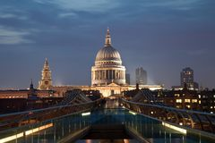 London Millennium bridge and St Paul Cathedral Royalty Free Stock Photography