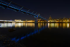 London. Millennium Bridge St. Paul's Cathedral  Thames River London by night Royalty Free Stock Images