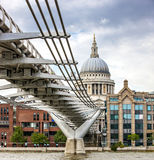 London Millennium Bridge and St Paul's Cathedral Stock Photography