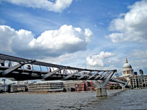 London Millennium Bridge and St Paul's Cathedral stock photos
