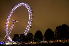 London Millennium Eye at night. On a cloudy night Royalty Free Stock Image