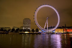 London Millennium Eye at night. On a cloudy night Stock Images