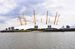 London modern building oxygen arena and Thames river Stock Images