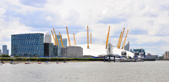 London modern building oxygen arena and Thames river Royalty Free Stock Photography