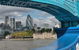 London Modern Buildings framed by Tower Bridge metal structure Royalty Free Stock Photo