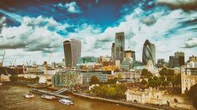 London modern skyline along river Thames on a beautiful sunny da. Y stock photos
