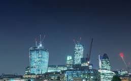 London modern skyline at night, UK Stock Images