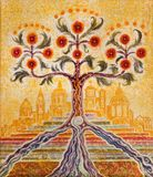 London - The modern symbolic painting of Tree of Life and Holy City Jerusalem in church St Botolph`s Aldgate. LONDON, GREAT BRITAIN - SEPTEMBER 18, 2017: The Royalty Free Stock Photo