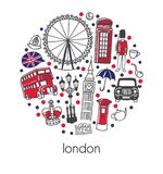 London. Modern vector illustration with famous english symbols and attractions with red, blue, black dots in a circle composition stock illustration