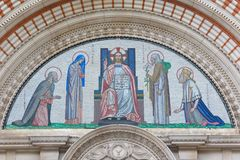 London - The mosaic of Jesus Christ the Pantokrator over the main portal of Westminster cathedral Royalty Free Stock Photos