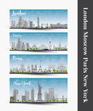 London, Moscow, Paris, New York. Set of four city skyline banner Stock Images