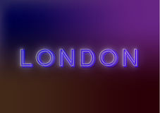 London - neon sign. Neon sign. Bright attracts the attention of a luminous sign saying - Neon light. EPS10 vector image Royalty Free Stock Photo