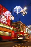 London at night. Oxford street at night with Christmas light decoration Stock Photos