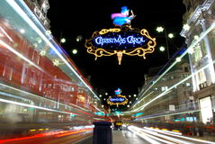 London at night. Regent street at night with Christmas light decoration Stock Image