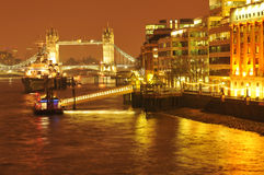 London by night. The bank of Thames, London by night Royalty Free Stock Images