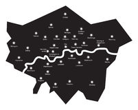 London by night. London map at night with described districts as a stars and milky way as a Thames Stock Photos