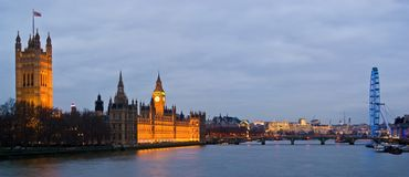 London at night. London Thames at night with the Parliament and the London Eye Stock Image