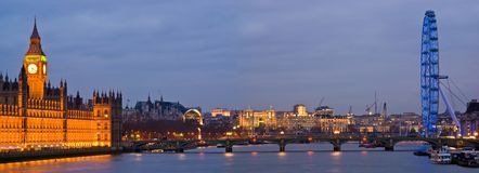 London at night. London Thames at night with the Parliament and the London Eye Royalty Free Stock Image