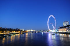 London at night. The great building with london eye at night in London Stock Photography