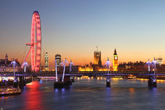 London at night. The London Eye, Big Ben and Westminster Palace Stock Photography