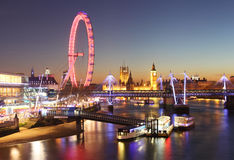 London at night. The London Eye, Big Ben and Westminster Palace Royalty Free Stock Image