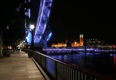London at night. London eye in motion at night Stock Photos