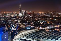 London night aerial drone downtown station. View stock photo