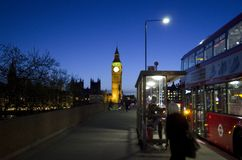 London night with Big Ben and double decker bus. Spring time UK Stock Images