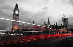 London by night. In black and white Royalty Free Stock Photography
