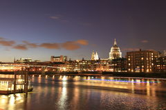 London night cityscape and Thames river Stock Photos