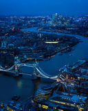 London At Night. East Toward River Thames, Tower Bridge. A London Night Time Vista. Looking East from London Bridge Area.  Includes River Thames, Tower Bridge Stock Image