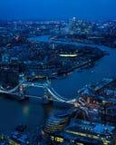 London At Night. East Toward River Thames, Tower Bridge Stock Image