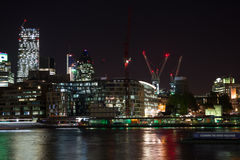 London by night financial district Stock Photos