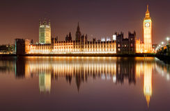 London at night - Houses of parliament, Big Ben Royalty Free Stock Photography