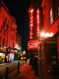 London by night. London red lights in central city Royalty Free Stock Photos