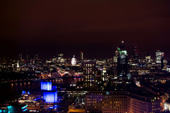 London at night. Long exposure night shot from London eye Stock Photo