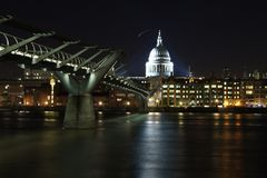 London Night at Millenium Bridge and St Pauls Stock Photos