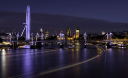 London at night. Night over the Thames river, London, United Kingdom Royalty Free Stock Photo