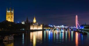 London night. Panoramic view of London`s night Stock Photos