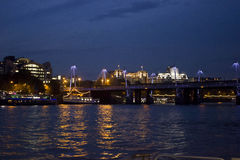 London by night by River Thames. LONDON, UNITED KINGDOM - SEPTEMBER 11 2015: London by night by River Thames Stock Images